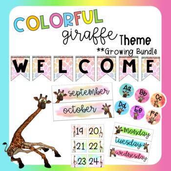 Colorful Giraffe Classroom Decor *Growing Bundle*
