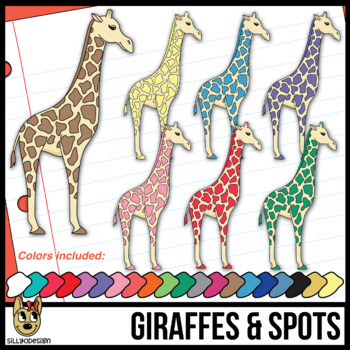 Colorful Giraffes with Spots Clipart