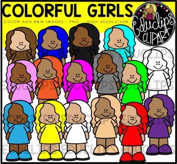 Colorful Girls Clip Art Bundle {Educlips Clipart}