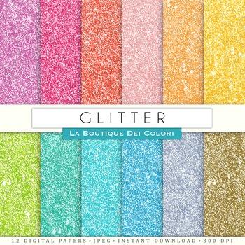 Colorful Glitter Digital Paper, scrapbook backgrounds