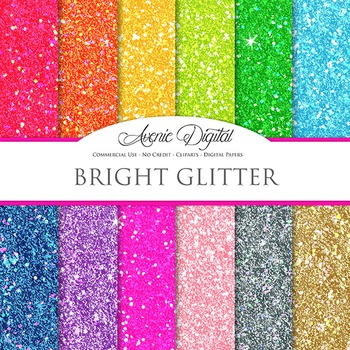 Colorful Glitter Digital Paper sparkle glittery textures scrapbook background