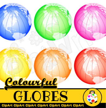 Colorful Globes Clip Art