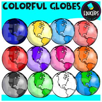 Colorful Globes Clip Art Bundle {Educlips Clipart}