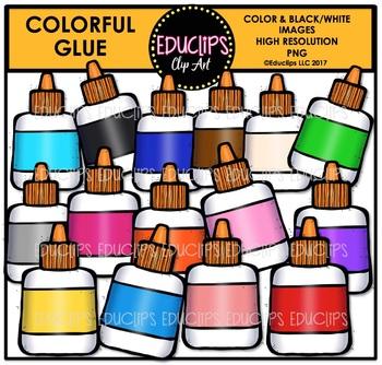 Colorful Glue Clip Art Bundle {Educlips Clipart}