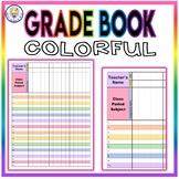 Colorful Grade Book Template - EDITABLE!