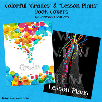 "Colorful ""Grades"" & ""Lesson Plans"" Book Covers"