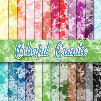 Colorful Granite Textures - Digital Paper Pack - 24 Different Papers - 12 x 12