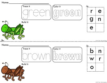 Rainbow Grasshoppers Trace Color and Build Writing Center Activity