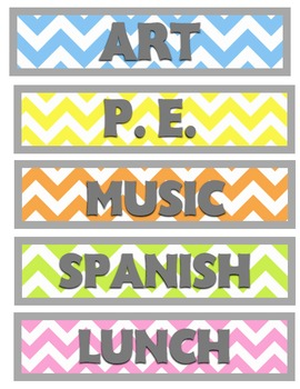 Colorful & Gray Chevron Schedule Cards