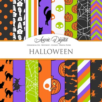Colorful Halloween Digital Papers - green purple orange sc