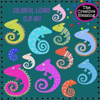 Colorful Hand Drawn Lizard Chameleon Clip Art