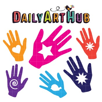 Colorful Hands Clip Art - Great for Art Class Projects!