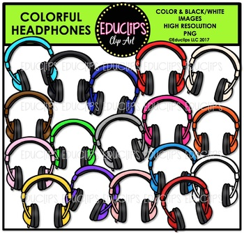 Colorful Headphones Clip Art Bundle {Educlips Clipart}