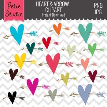 Colorful Heart Clipart, Wedding Color Hearts, Valentine's Hearts - EV120