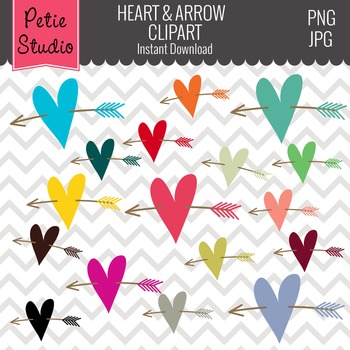 Colorful Heart Clipart, Wedding Color Hearts, Valentine's