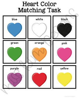 Colorful Hearts Matching Folder Game for Early Childhood Special Education