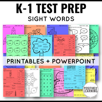 NWEA MAP Testing Sight Words Printables and Slides