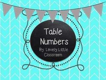 Colorful Herringbone Classroom Table Numbers