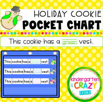 Colorful Holiday Cookies Pocket Chart - This cookie has a green vest.