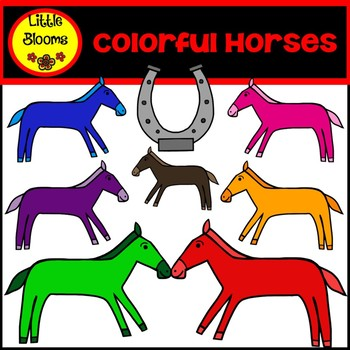 Colorful Horses Clip Art