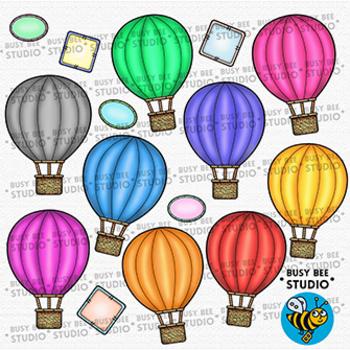 Colorful Hot-Air Balloons Clip Art