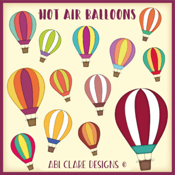 Rainbow Hot Air Balloons Clip Art Set