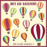 Rainbow Hot Air Balloons Clip Art Set