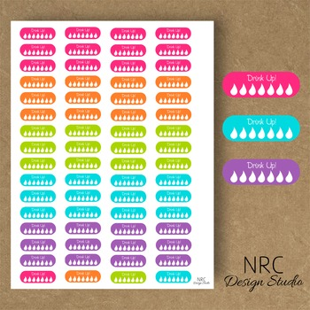 Colorful Hydrate Planner Stickers - Printable Planner Stic