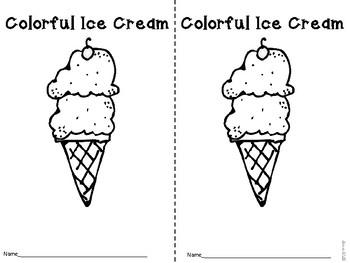 Colorful Ice Cream Emergent Reader Freebie