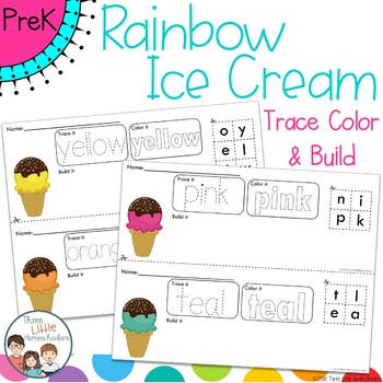 Rainbow Ice Cream Trace Color and Build Writing Center Activity
