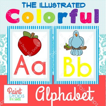 Colorful Illustrated Alphabet Posters {Classroom Decor}