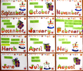 Colorful Illustrated Birthday Month Panels