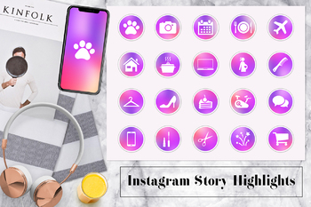 Colorful Instagram Story Highlights Icons, Lifestyle Instagram Icons