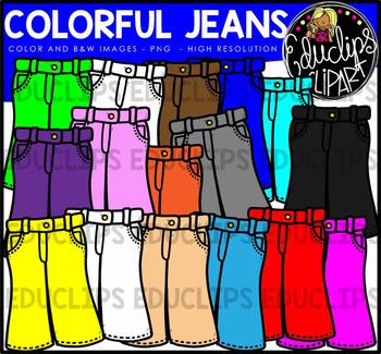 Colorful Jeans Clip Art Bundle {Educlips Clipart}