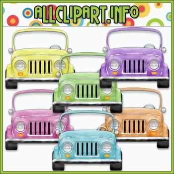 $1.00 BARGAIN BIN - Colorful Jeeps (Pastel) Clip Art