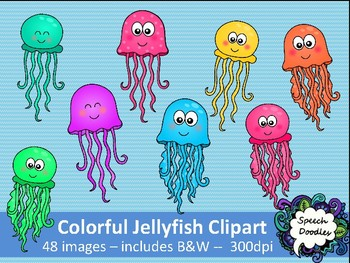 Colorful Jellyfish clipart - 48 images! -  Rainbow jellyfish clipart