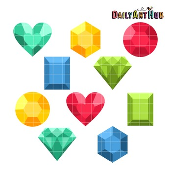 Colorful Jewels Clip Art - Great for Art Class Projects!