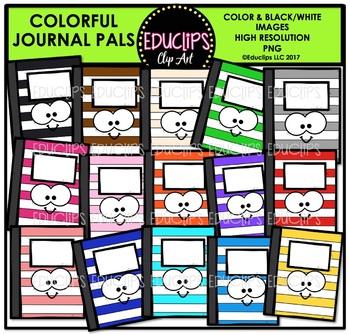 Colorful Journal Pals Clip Art Bundle {Educlips Clipart}