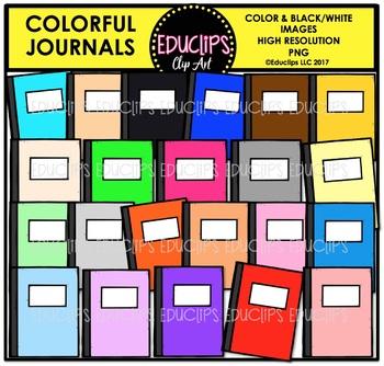 Colorful Journals Clip Art Bundle {Educlips Clipart}
