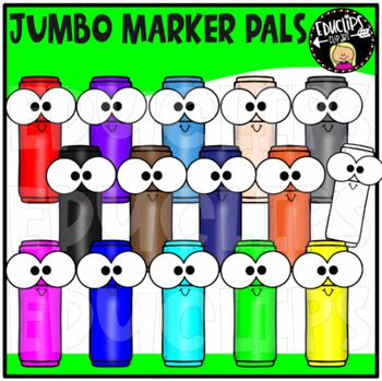 Colorful Jumbo Marker Pals Clip Art Bundle {Educlips Clipart}
