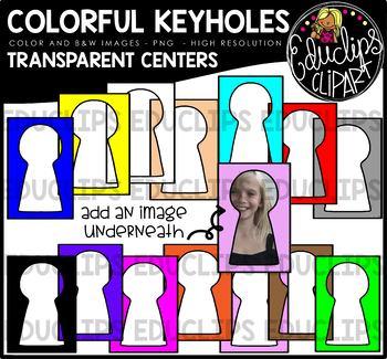 Colorful Keyholes - Transparent Centers Clip Art Bundle