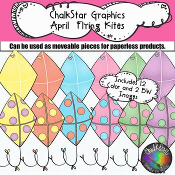Colorful Kites Clip Art –Chalkstar Graphics