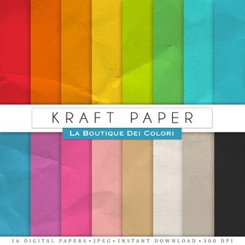Colorful Kraft Texture Digital Paper, scrapbook backgrounds