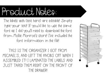 Colorful Labels for 10 drawer organizer! Editable!