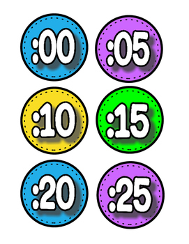 Colorful Labels for Classroom Clock