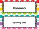 Colorful Labels for Classroom Objective Boards (objective, upcoming, homework)