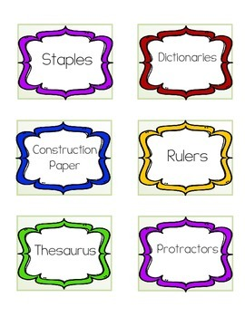 Colorful Labels for the Classroom