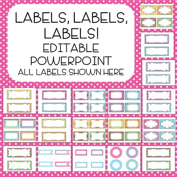 Colorful Frames/Labels - polka dots, stripes - Editable