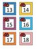 Colorful Ladybugs Calendar Number Cards 1-31