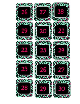 Colorful Leopard Calendar Numbers